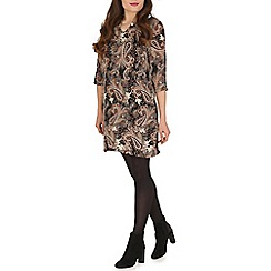 Voulez Vous - Black paisley print chain neck dress