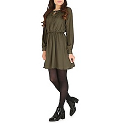 Cutie - Olive pleated shift dress