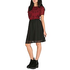 Pussycat London - Dark red flower top dress