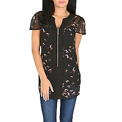 Pussycat London - Black bird print top