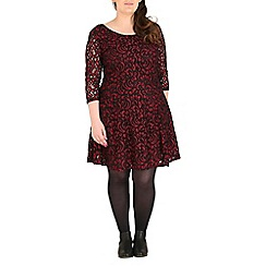 Samya - Dark red paisley lace skater dress
