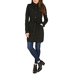 Izabel London - Black belted button up trench coat