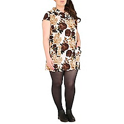Samya - Brown floral print tunic top