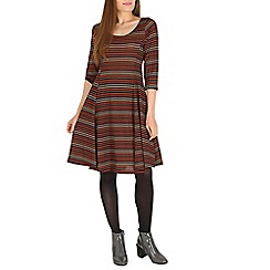 Amaya - Wine stripy skater dress