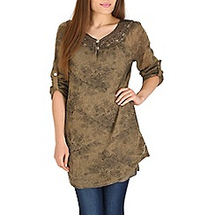 Amaya - Brown tunic dress with crochet detail