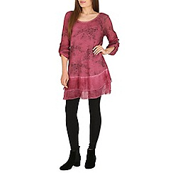 Amaya - Wine printed tunic top with chiffon hem