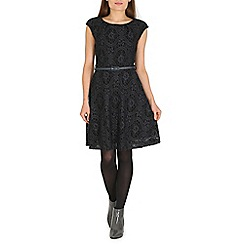 Amaya - Grey lined lace skater dress