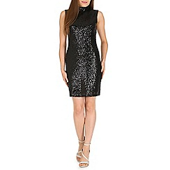 Amaya - Black high neck sequin dress