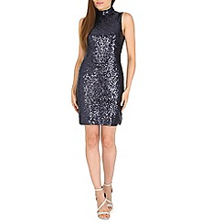 Amaya - Navy high neck sequin dress