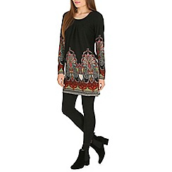 Amaya - Brown long sleeve printed tunic