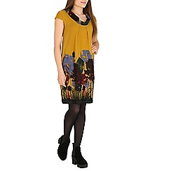Amaya - Mustard printed cowl neck tunic