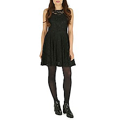 Izabel London - Black plain lace overall dress