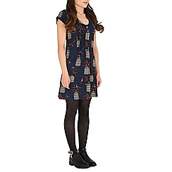 Tenki - Blue bird and cage print tunic dress