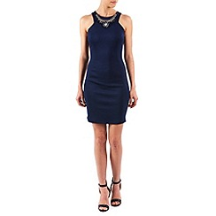 Zibi London - Navy jewel neck sleeveless dress