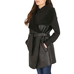 Amaya - Black faux suede coat