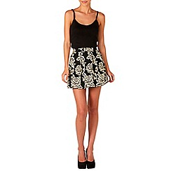 Zibi London - Black embroidered puff skirt