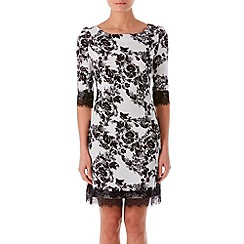 Zibi London - Black patent printed lace trim shift dress