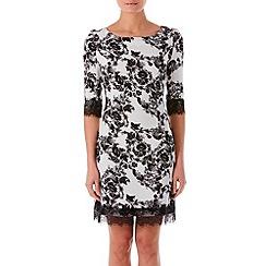 Zibi London - Black patent printed lace trim shift dress
