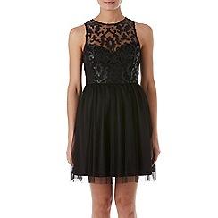 Zibi London - Black edgy faux leather baroque dress
