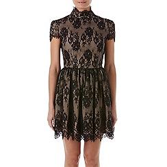 Zibi London - Black patent lace backless dress