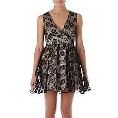 Zibi London - Black patent flocked print organza/satin dress
