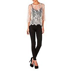 Zibi London - Pink cropped sleeve lace top
