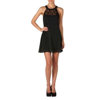 Zibi London Black lace neck swing dress