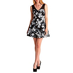 Zibi London - Black floral skater dress