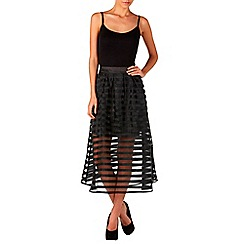 Zibi London - Black stripe organza skirt