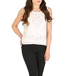 Mela - White sequin and beaded top