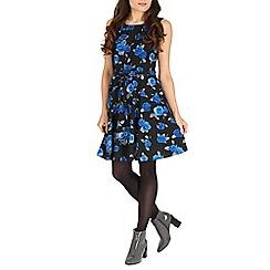 Mela - Black blue rose print dress