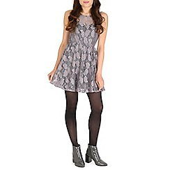 Mela - Silver sweetheart lace dress