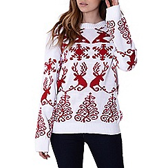 Alice & You - White reindeer fairisle jumper