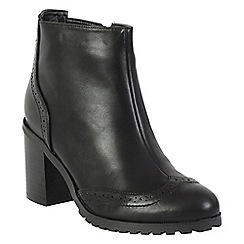 Betsy - Black brogue detail ankle boots
