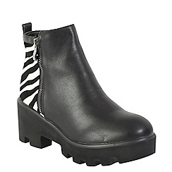Betsy - Black zebra ankle boots