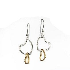 Banyan - Silver two tone heart earrings