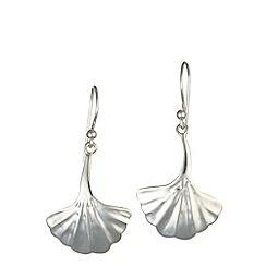 Banyan - Silver fanned leaf silver earrings