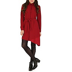 Amaya - Dark red shirt dress with tie detail