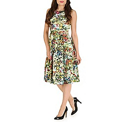 Jolie Moi - Green floral print 50s pleated dress