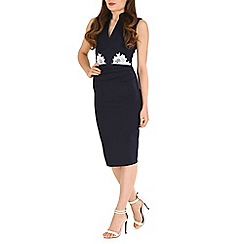 Jolie Moi - Navy lace applique bodycon dress
