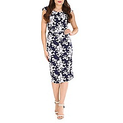 Jolie Moi - Navy retro floral print ruched dress