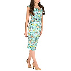 Jolie Moi - Aqua retro floral print ruched dress