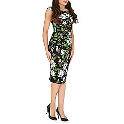 Jolie Moi - Black patent tropical print ruched dress