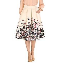 Jolie Moi - Beige butterfly print a-line skirt