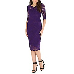 Jolie Moi - Dark purple scalloped lace dress