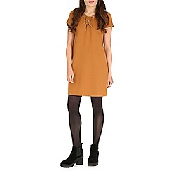 Damned Delux - Camel matilda ponte dress with eyelets