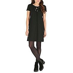Damned Delux - Black matilda ponte dress with eyelets