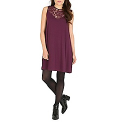Damned Delux - Maroon janice lace neck swing dress