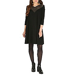 Damned Delux - Black alice dress with pu front