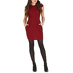 Voulez Vous - Wine pleats & pockets cap sleeve dress